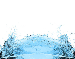 blue water splash drink on white background 3D illustration