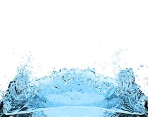 blue water splash drink on white background 3D illustration