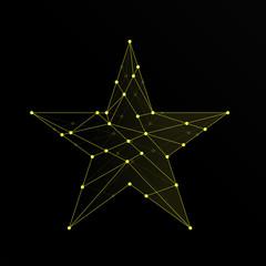 Star pentagram icon illustration yellow color, dot outline stroke design isolated on black background