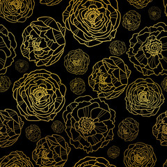 Vector Golden On Black Peony Flowers Summer Seamless Pattern Background. Great for elegant gold texture fabric, cards, wedding invitations, wallpaper.