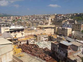 View above North Africa largest Tannery in Fez Morocco