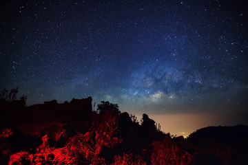 Milky Way Galaxy at Doi Luang Chiang Dao before sunrise. Long ex