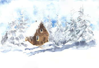 Winter landscape with wooden cabin pines watercolor painting illustration christmas greeting card