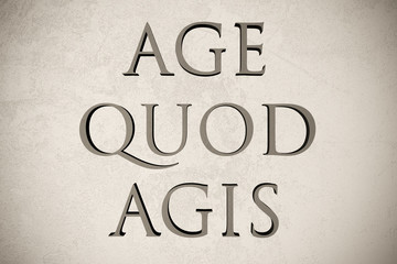 """Latin quote """"Age quod agis"""" on stone background, 3d illustration - meaning """"Do what you do"""""""