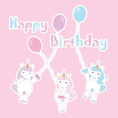 Birthday Day card with cute colorful unicorns bring balloons on pink background suitable for birthday invitation card, greeting card, and postcard