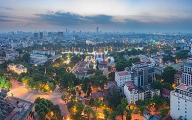 Aerial view of a Hoan Kiem lake ( Sword lake, Ho Guom in Vietnamese ) at night. Hanoi skyline view. Hoan Kiem lake is center of Hanoi