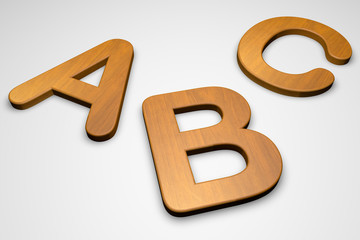 Wooden abc letters isolated on white background, 3d illustration