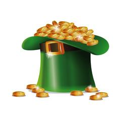 st patrick day hat coins golden shiny vector illustration eps 10