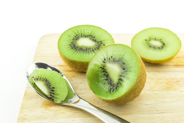 Wall Mural - Kiwi fruit on white background