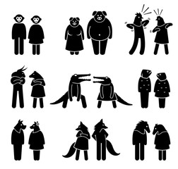 Anthropomorphic characters of male and female. The anthropomorphism include human with the head and face of animals. These animals are monkey, pig, chicken, cow, crocodile, fish, dog, fox, and horse.