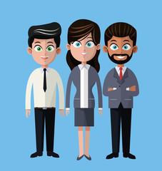 cartoon woman and men business company team vector illustration eps 10