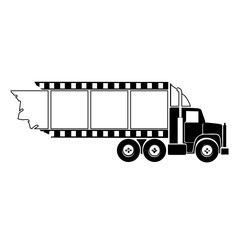 Transport truck hauling film strip. This represents a truck or transport servicing the movie industry.