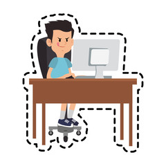 boy cartoon playing on computer over white background. colorful design. vector illustration