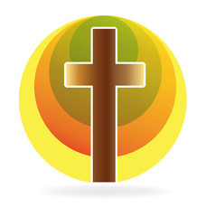 Cross religion symbol logo icon vector