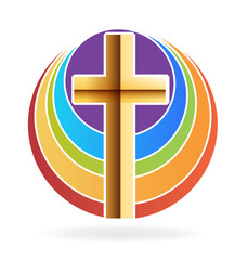 Gold cross and rainbow logo
