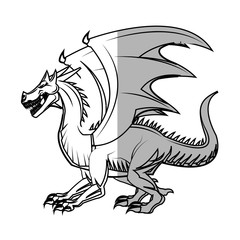 dragon cartoon icon over white background. vector illustration