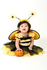 Baby girl dressed as cute little bee with a small pumpkin smiling