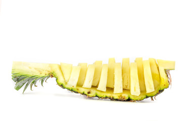 Wall Mural - Pineapple slices isolated on white
