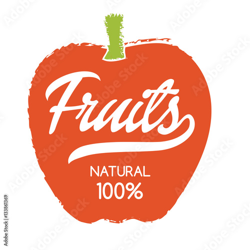 Natural Fruits Label With Apple Silhouette Hand Drawn Isolated