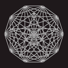 Mysterious Geometry. Abstract Vector Sphere. Abstract Geometric Illustration.