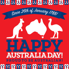 Retro sash Australia Day card in vector format.