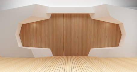 3D rendering image for minimalist and modern wooden wall decoration15