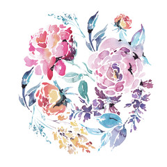 Vector watercolor floral round frame of red roses