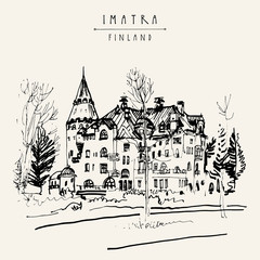 Imatra, Finland, Europe. Jugend style castle in a park. Travel sketch. Vintage hand drawn touristic postcard, poster, calendar or book illustration