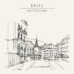 Basel, Switzerland, Europe. Street and historical houses in old town. Hand drawn postcard, poster, calendar or book illustration