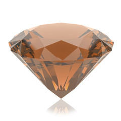 Orange crystal on a white background. 3d render