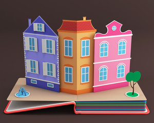 Pop-up book with vintage street. 3D rendering