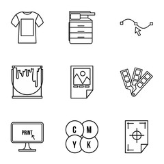 Printer icons set, outline style