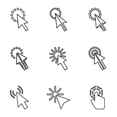 Arrow icons set, outline style