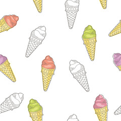 Ice cream graphic sketch seamless pattern illustration vector