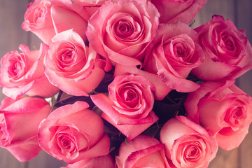 Valentines day or Mother day background with pink roses