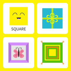 Learning square form shape. Smiling face. Cute cartoon character Frame picture butterfly, gift box bow, pillow set. Educational cards for kids Flat design White background Isolated
