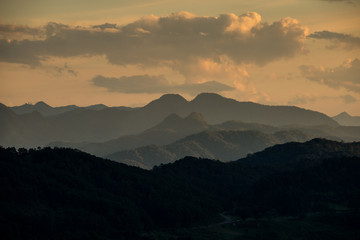 The beautiful Sunset with mountain view in Mae Hong Son's city, North of THAILAND.