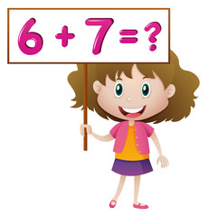 Girl holding board with math problem
