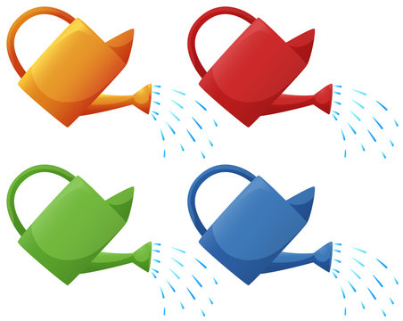 Watering cans in four colors