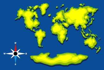Worldmap with green land and blue ocean
