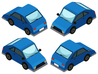 Blue car from four different angles