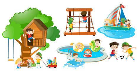 Children having fun doing different activities