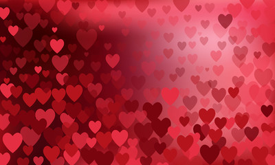 vector background with red hearts, valentines day