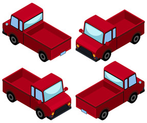 Red pick up trucks from four different angles