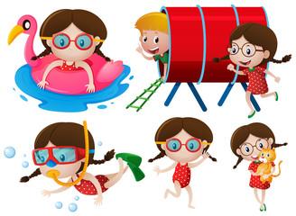 Little girls doing many activities