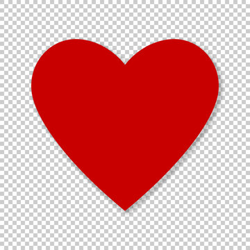 Valentine red heart on transparent background. Simple heart icon vector EPS-10