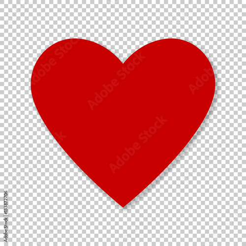 valentine red heart on transparent background simple heart icon