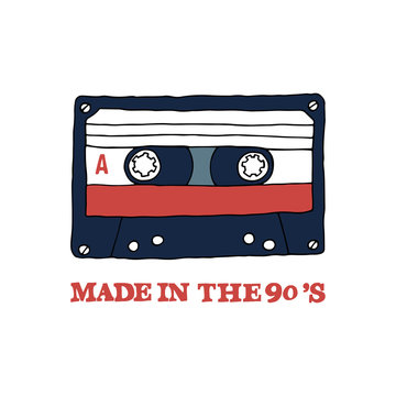 "Audio tape with inscription: "" Made in the 90s"". It can be used for website design, article, poster, t-shirt, mug etc."