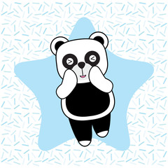 Birthday card with cute panda on star background suitable for birthday greeting card, invitation card, and postcard