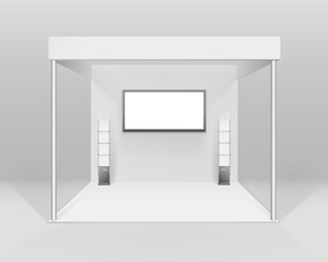 Vector White Blank Indoor Trade exhibition Booth Standard Stand for Presentation with Spotlight Screen Booklet Brochure Holder Isolated on Background